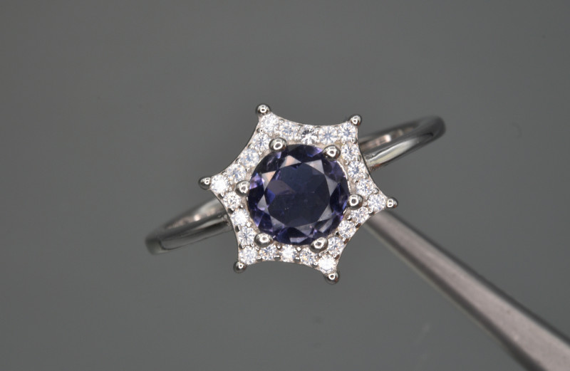 Natural Iolite , CZ and 925 Silver Ring