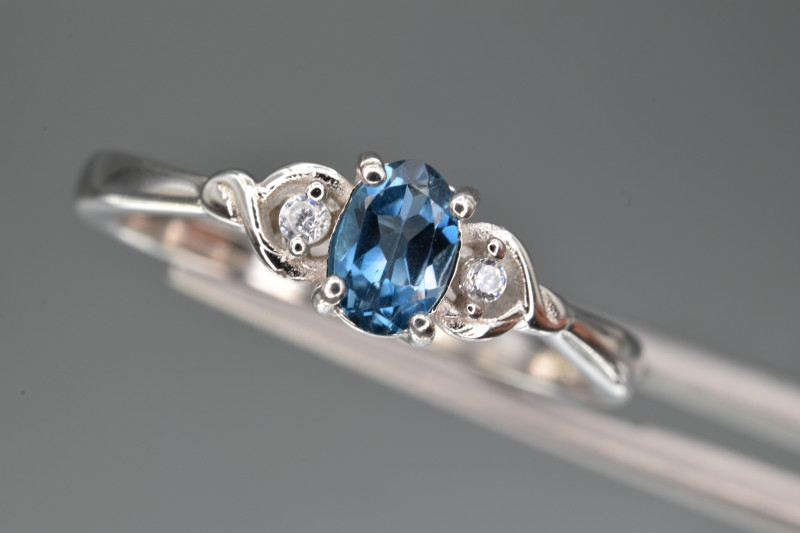 Natural  Blue Topaz , CZ and 925 Silver Ring