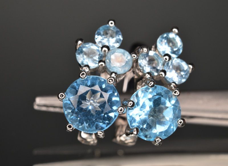 Natural Blue Topaz  and 925 Silver Earrings