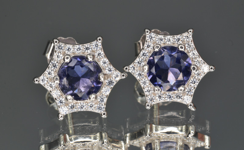 Natural Iolite , CZ and 925 Silver Earrings