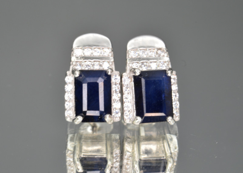 Natural Sapphire  , CZ and 925 Silver Earrings