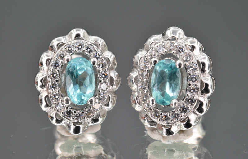 Natural Apatite , CZ and 925 Silver Earrings