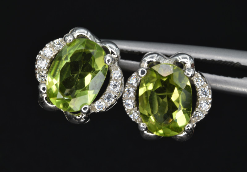 Natural Peridot , CZ and 925 Silver Earrings