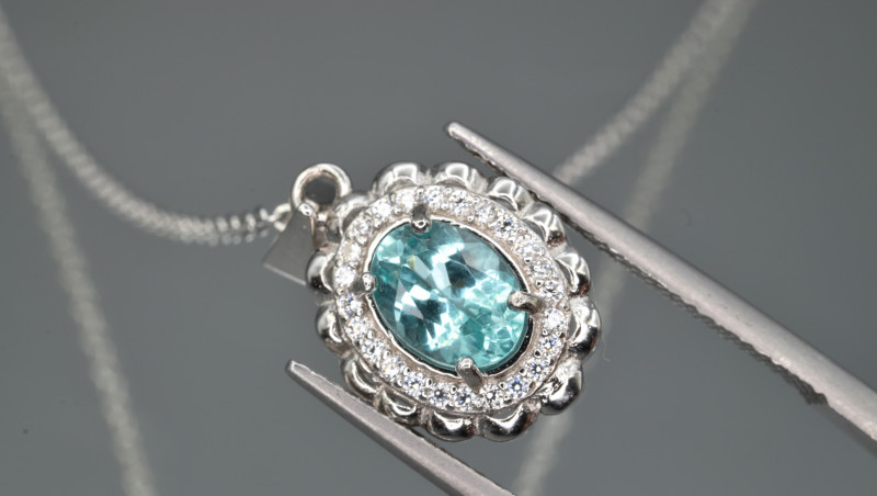 Natural Apatite and 925 Silver Pendant with Chain