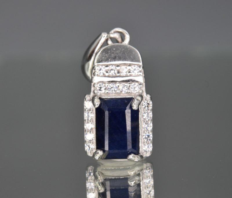 Natural Sapphire ,CZ and 925 Silver Pendant