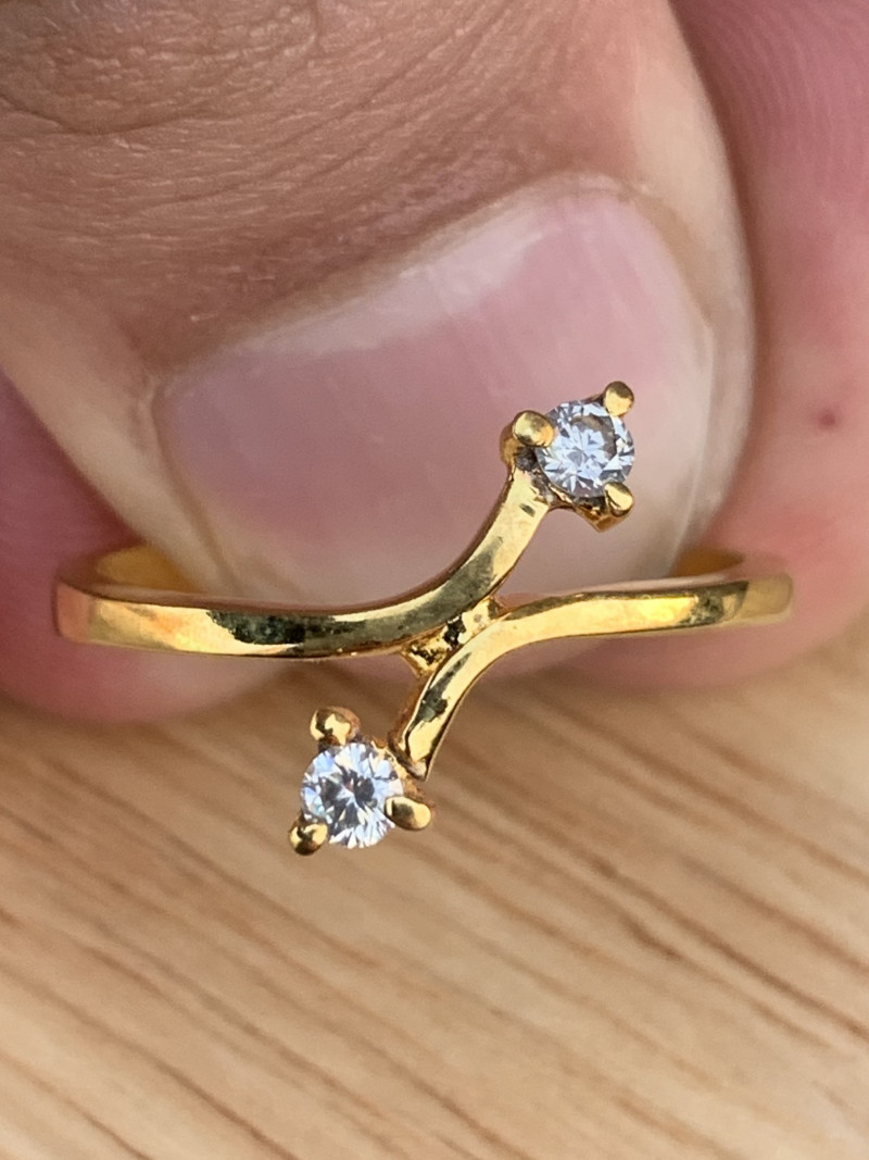 gold plated ring with diamonds