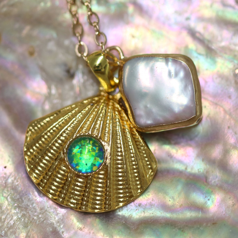 Sea Collection -Pearl & Opal Shell Pendant  CCC 1423