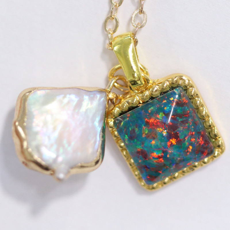 gold plated necklace with opal and pearl