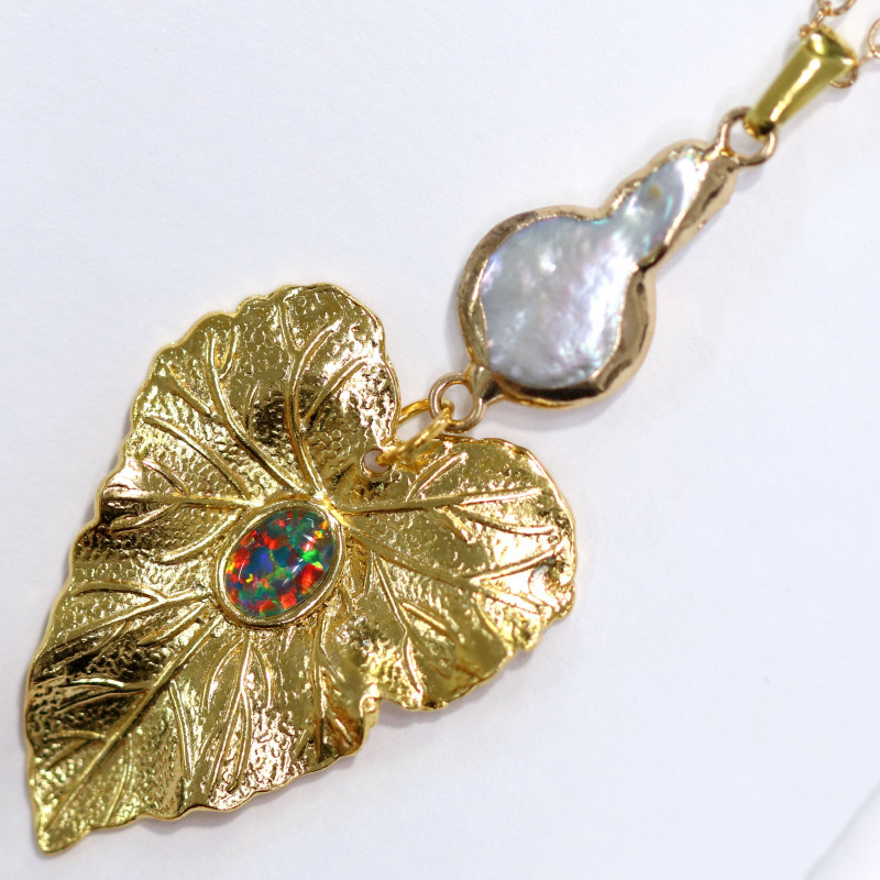 gold plated pendant with pearl and opal