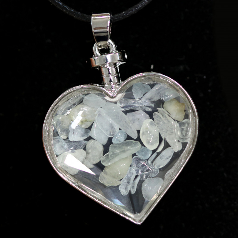 Lovers Heart Shape Natural Aquamarine  Gemstone Pendants AHA   299