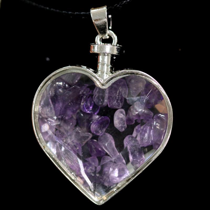 Lovers Heart,Natural Amethyst  Gemstone Pendants  AHA 318