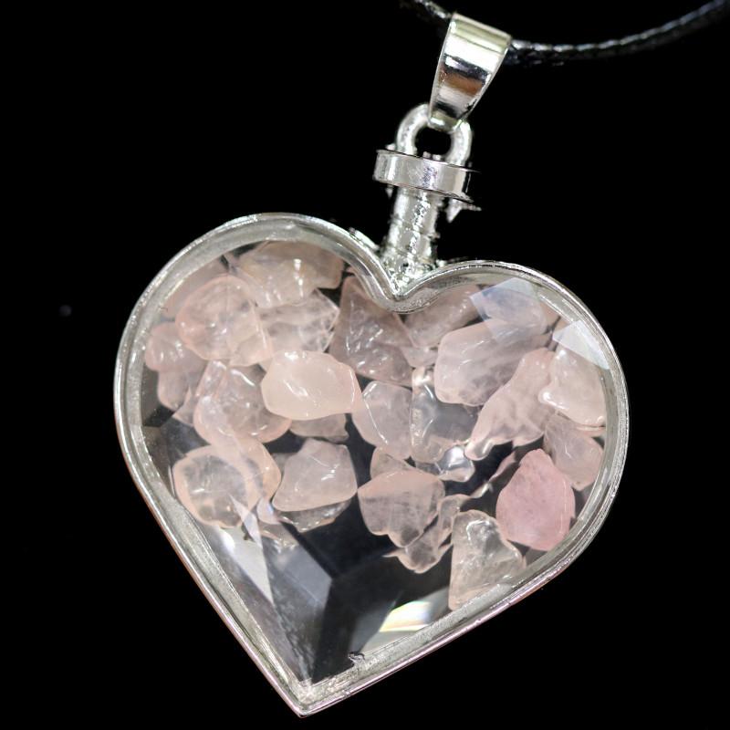 Lovers Heart,Rose Quartz   Gemstone Pendants AHA 323