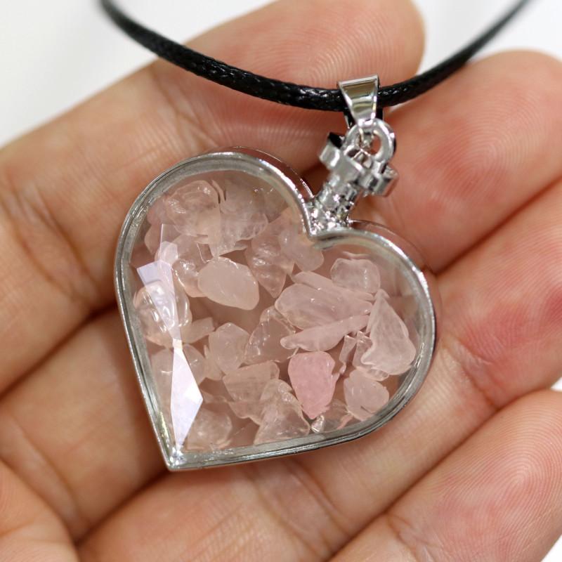 Lovers Heart,Rose Quartz   Gemstone Pendants  AHA 324