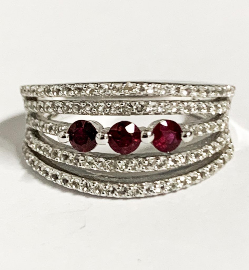 Stylish Modern Natural Ruby 0.33 Ct And Topaz Ring ~ Silver