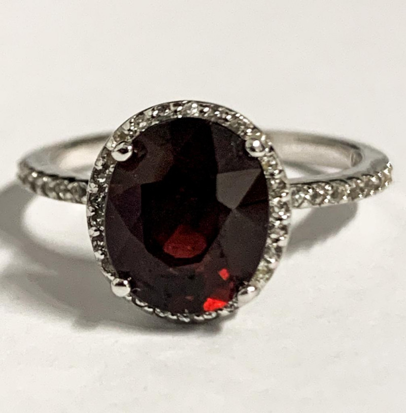 Stylish Natural Rhodolite 3.46 Ct And Topaz Ring ~ Silver
