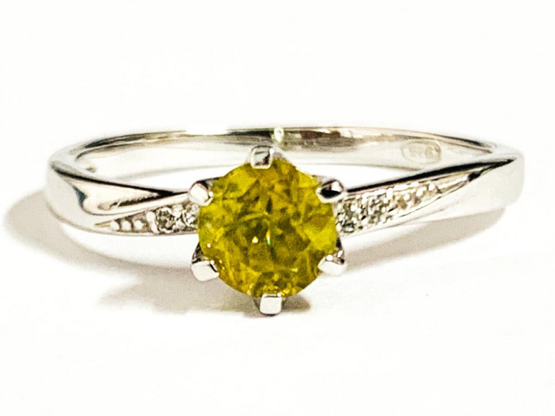 Stylish Natural Sphene And Topaz Ring ~ Silver