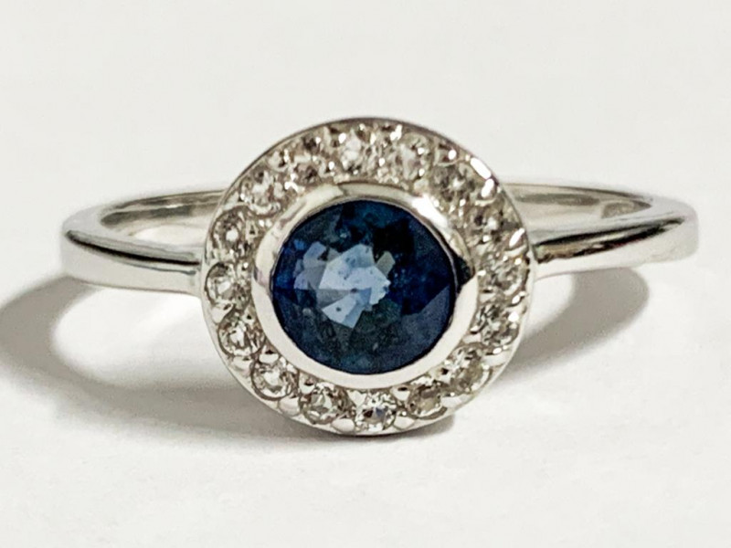Modern Style Blue Sapphire Sterling Silver 925 Ring