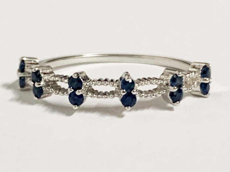 Stylish Natural Sapphire And Topaz Ring ~ Silver