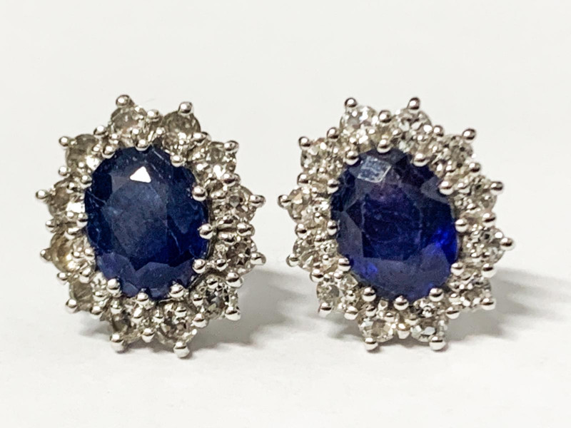 Natural BlueSapphire 3.01 Ct And Topaz ~ Silver Earring