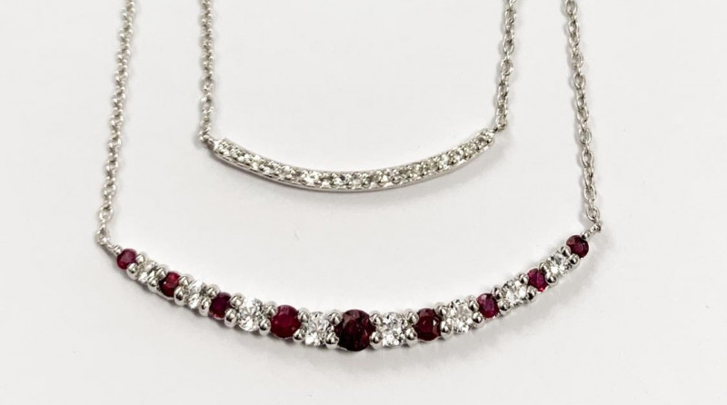 *No Reserve* Natural Red Ruby  And Topaz ~ Silver Necklace