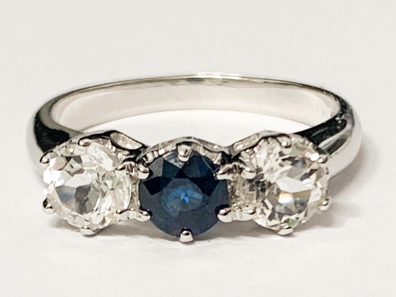 *NoReserve*Natural Sapphire   And Topaz Ring ~ Silver