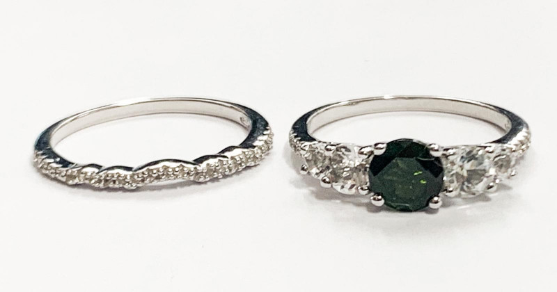 Special Pair for His & hers Chrom Diopside Silver ring