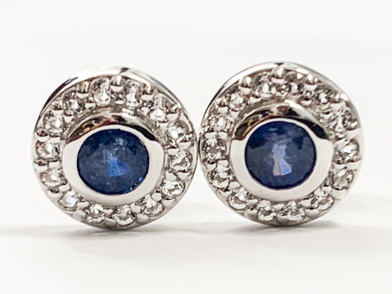 Natural Blue Sapphire 0.76 Ct And Topaz ~ Silver Earring