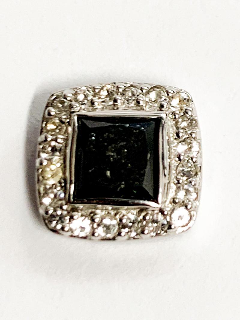 Natural Black  Diamond And Topaz ~ Silver Pendants