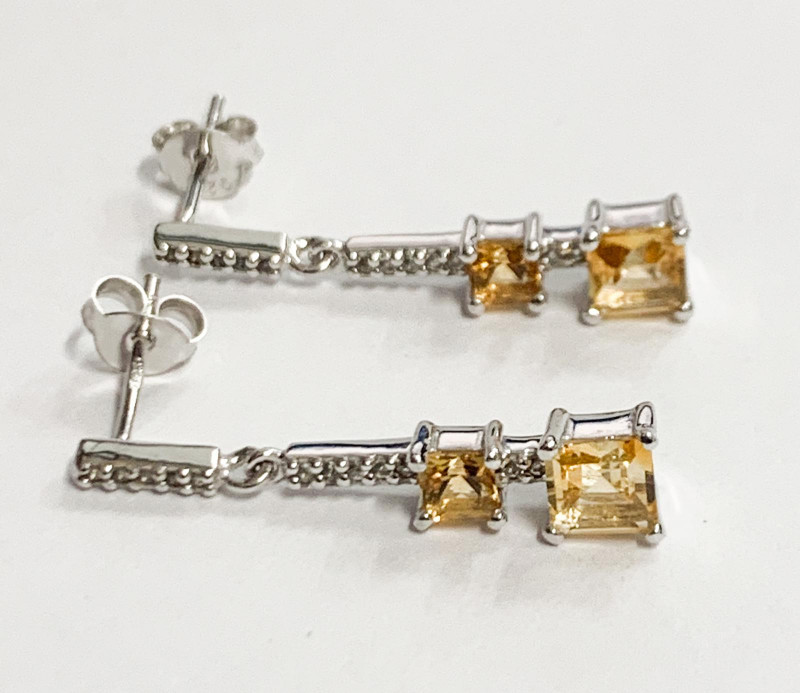 Natural Citrine And Topaz ~ Silver Earring
