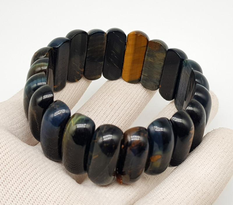 Natural Mix Color African Tiger Eye Bracelet 360.00 Carats