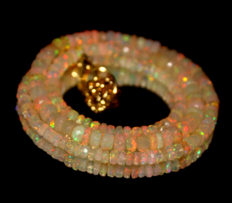 42 Crt Natural Ethiopian Welo Faceted Opal Necklace 205
