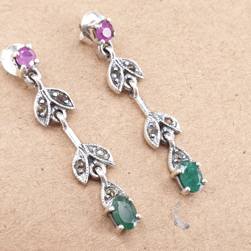 Natural Emerald and Glass filled ruby Earrings