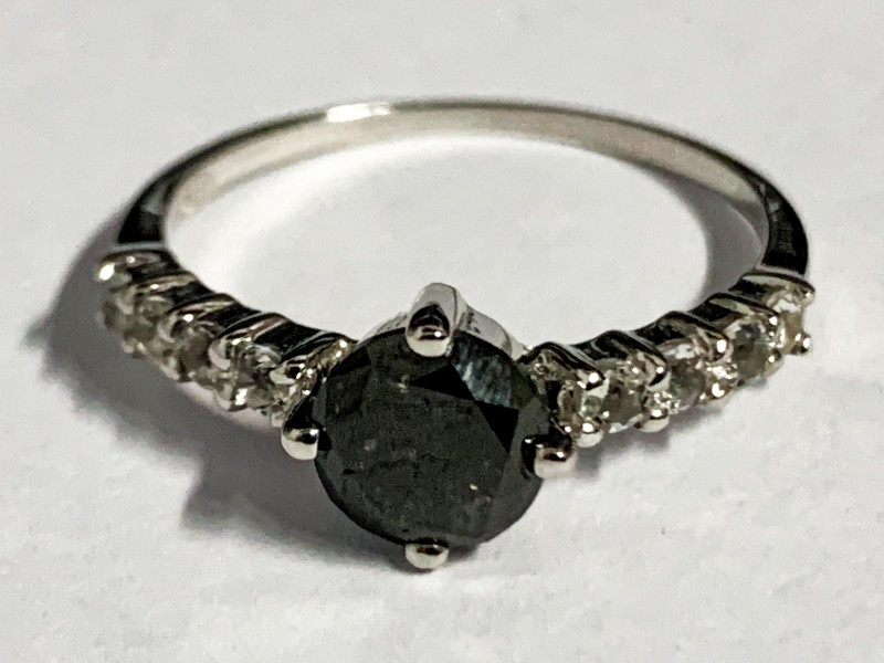 Natural Black Diamond 0.93 Cts And Topaz Ring ~ Silver
