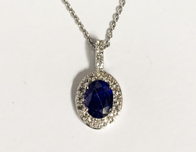 NaturalSapphire 1.63 Cts And Topaz ~ Silver Necklace