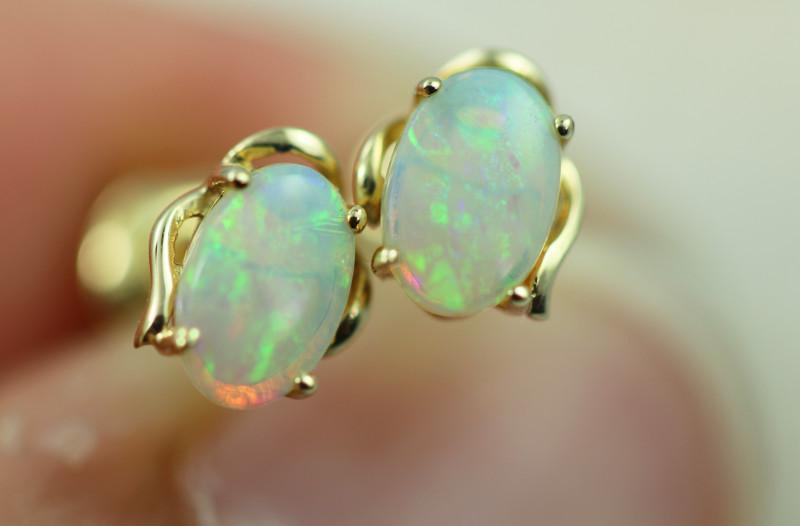 Cute Crystal  Opal set in 14k Yellow Gold Earring CK 531