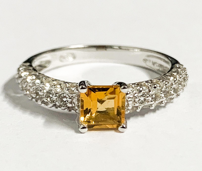Stylish Natural Citrine And Topaz Ring ~ Silver