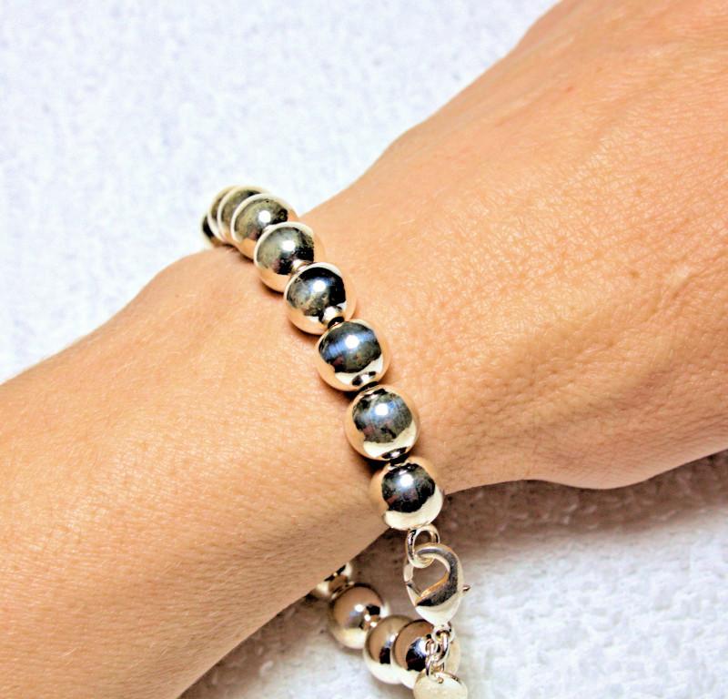 2.372 Ounce Heavy Sterling Silver Beaded Bracelet - Gorgeous