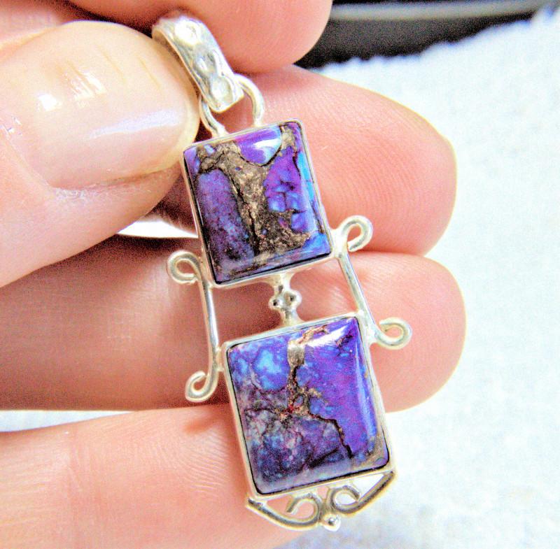 36.0 Tcw. Purple Sea Sediment Jasper / Sterling Silver Pendant - Gorgeous