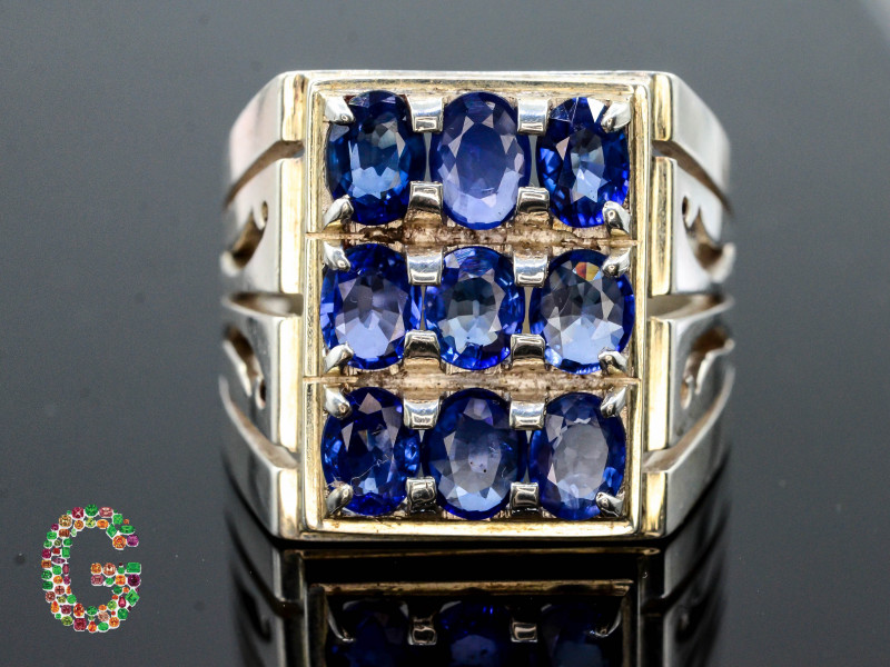 Unique Design 71.20 Ct Silver Ring ~ With Sapphire  Stones