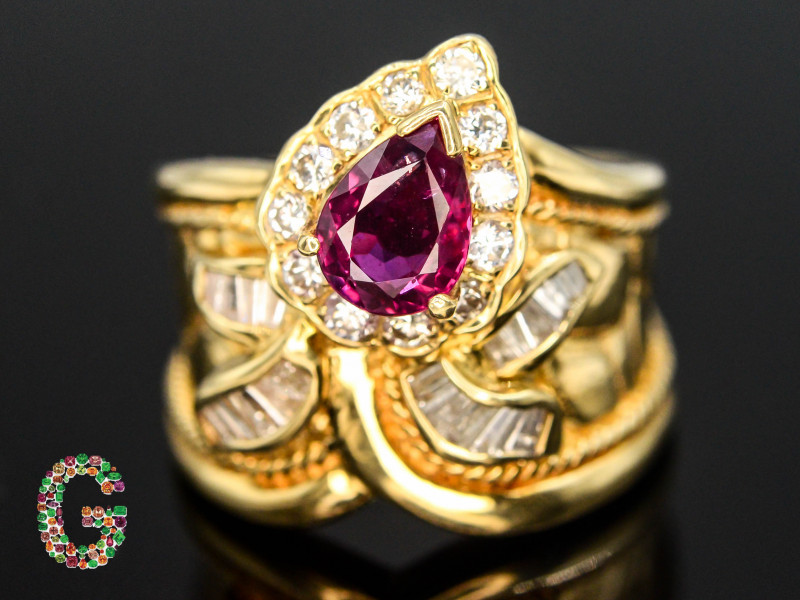 Presenting Exclusive 18 K  Gold Ring With Natural Burma Ruby & Diamonds