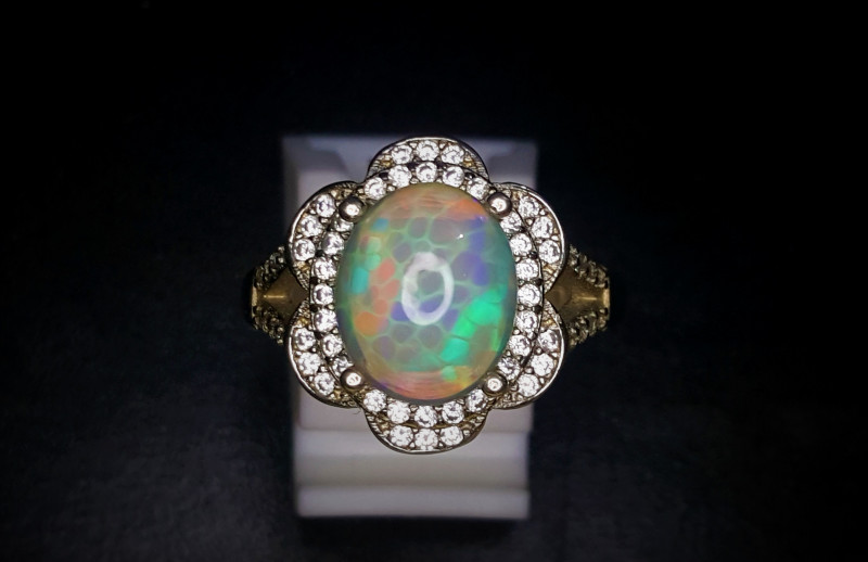 22.85 Crts Honey Comb Opal Ring In Rhodium Coated 92.5 Silver & Cz