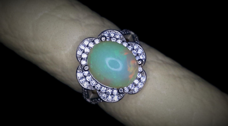25.25 Crts Opal Ring In Rhodium Coated 92.5 Silver & CZ