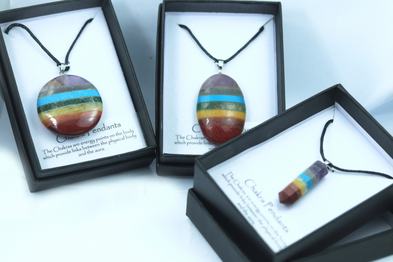 THREE Chakra 7 natural Gemstone Pendants Gift boxed code CHAKPEN-4
