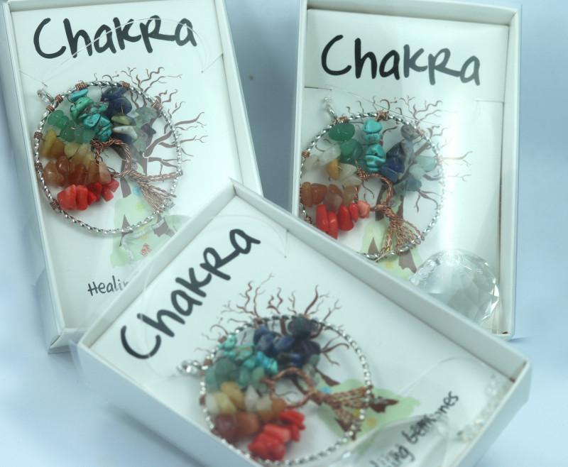 THREE Chakra Tree Of life Sun Catcher Pendants Gift boxed code TOLSCC-3