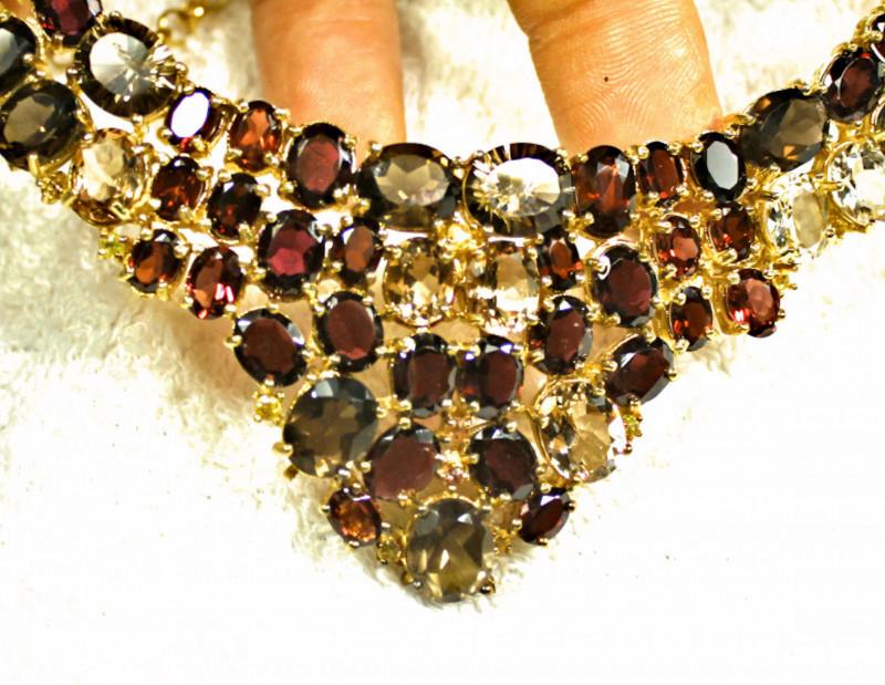 446.0 Tcw. Gold Plated Silver, Garnet, Topaz, Smokey Quartz Necklace - Beau