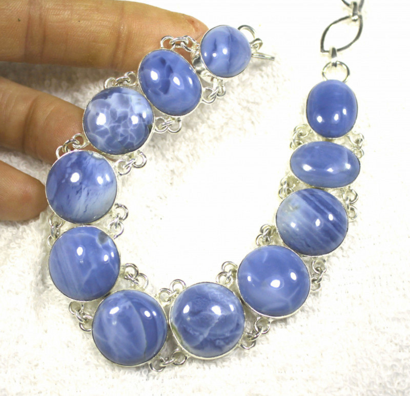 388.0 Tcw. Sterling Silver, Australian Blue Opal Necklace - Gorgeous