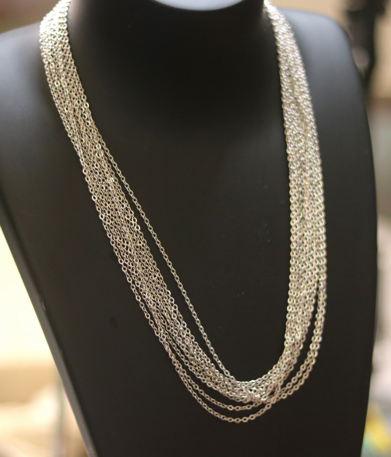 Ten Dual Curb  chain necklace- Silver   Electformed Stainless steel CMT 274