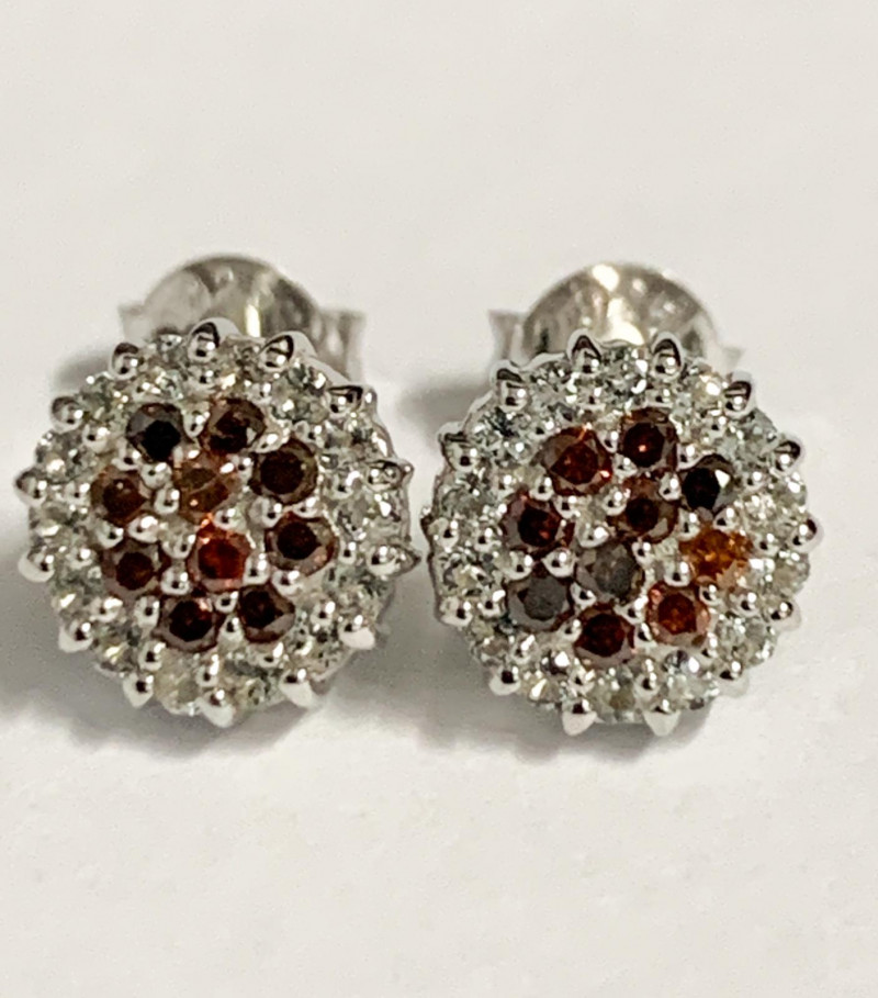 Red Diamond  Stylish Natural And Topaz ~Sterling  Silver 925 Earring