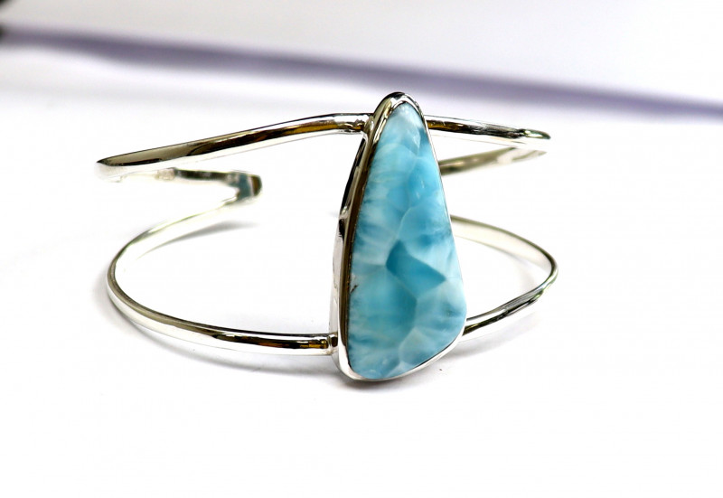 Exquisite Natural Sky Blue Larimar .925 Sterling Silver Cuff Bangle 6.6inch
