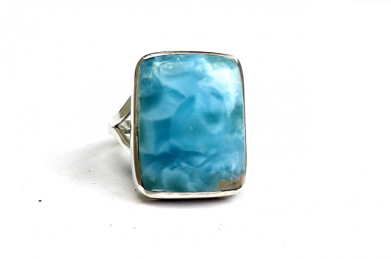 Outstanding Natural Volcanic Blue Larimar .925 Sterling Silver Ring #8.5